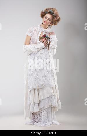 Finery. Glamorous Lady in Elegant Lacy Dress - Stock Photo