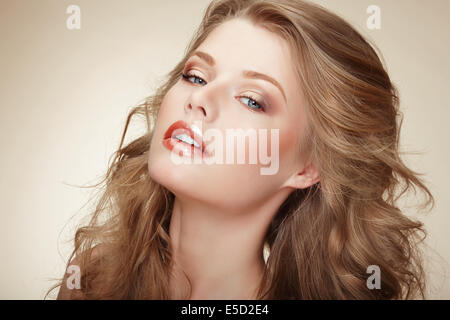 Genuine Comely Woman with Flossy Whity-Brown Hair - Stock Photo