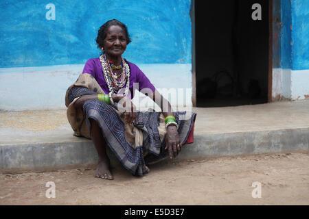Portrait of a tribal woman, Baiga tribe, Karangra Village, Chattisgadh, India - Stock Photo