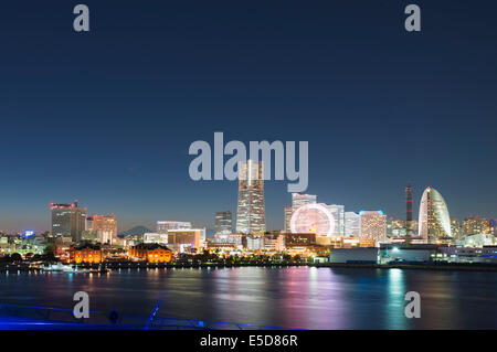 Asia; Japan; Honshu; Yokohama Bay and skyline - Stock Photo