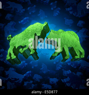 Stock market bull and bear investing symbol as a group of three dimensional trading icons as a concept of economic - Stock Photo