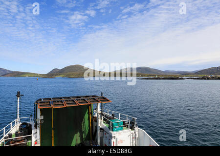 Caledonian MacBrayne passenger car ferry sailing from Berneray approaching Leverburgh Isle of Harris Outer Hebrides - Stock Photo