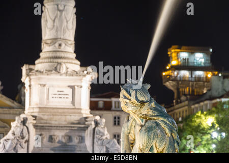 Rossio Square is the popular name of the Pedro IV Square (Portuguese: Praça de D. Pedro IV) in the city of Lisbon, - Stock Photo