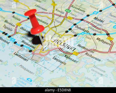 Helsinki on map - Stock Photo