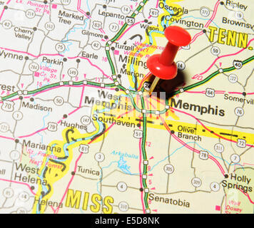 Memphis pinned on a map of USA Stock Photo Royalty Free Image