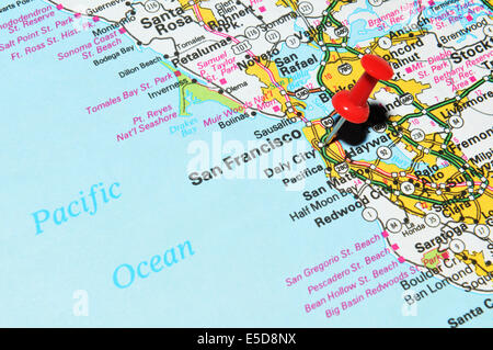 San Francisco Pinned On A Map Of USA Stock Photo Royalty Free - Us map san francisco