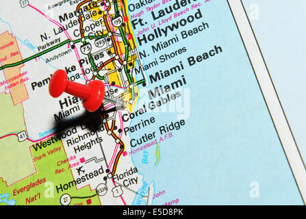 Miami Pinned On A Map Of USA Stock Photo Royalty Free Image - Miami on us map