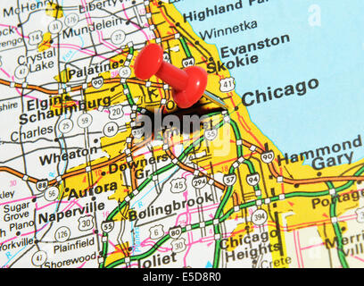 Chicago City Pin On The Map Stock Photo Royalty Free Image - Chicago us map