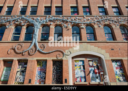 The Tib Street side of Afflecks (formerly Affleck's Palace) indoor market building located in the Northern Quarter - Stock Photo