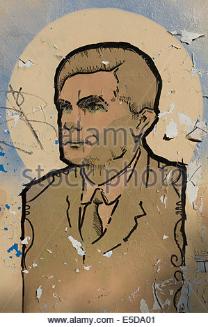 Some Street art representing Alan Turing OBE FRS in the Northern Quarter area of Manchester city centre. - Stock Photo