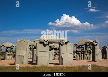 Alliance, Nebraska - Carhenge, a circle of old cars bolted together and half buried in the ground. - Stock Photo