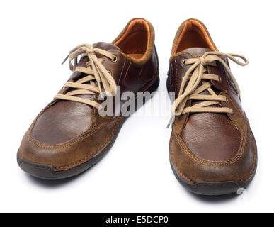 One pair of brown leather shoes isolated on white background - Stock Photo