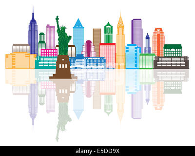 New York City Skyline with Statue of Liberty Color with Reflection Illustration - Stock Photo