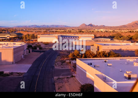 Aerial view from helicopter flying above taxiway in approach to commercial landing area in Scottsdale Airpark, Scottsdale, - Stock Photo