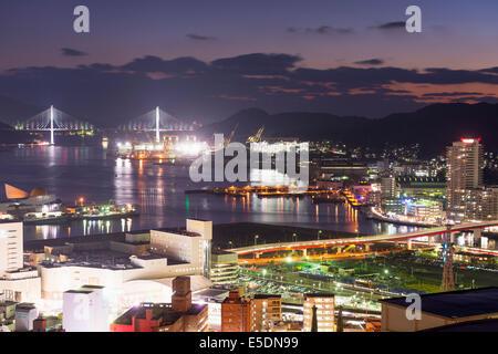 Asia, Japan, Kyushu, Nagasaki, Nagasaki bay at night - Stock Photo