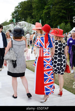Dress made from Union Jack flag, at Tatton Park, RHS Flower Show. - Stock Photo