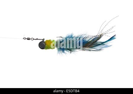 artificial pendant on thin line on white background fly - Stock Photo