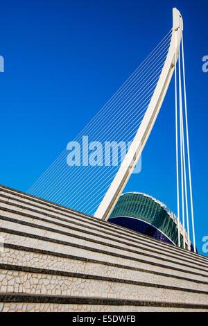 Puente de l'Assut de l'Or bridge, City of Arts and Sciences, Valencia, Comunidad Valenciana, Spain - Stock Photo