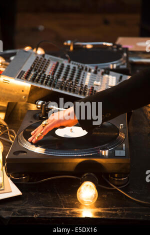 Dj equipment in a club - Stock Photo