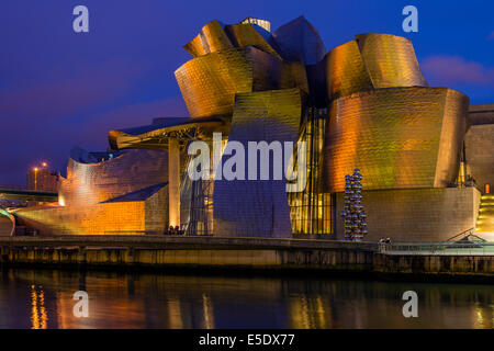 Guggenheim Museum by night, Bilbao, Basque Country, Spain - Stock Photo