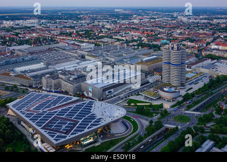 Look at the BMW Welt and Headquarters 'BMW four-cylinder', Munich, Bavaria, Germany, Europe - Stock Photo