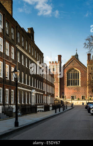 Looking down the Chambers of New Square to The Great Hall at Lincoln's Inn. - Stock Photo