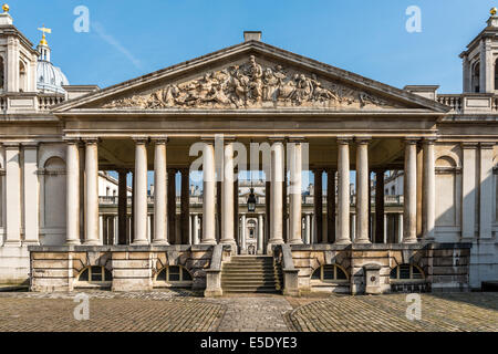 The Nelson Pediment at the Old Royal Naval College, Greenwich, London, which overlooks the King William Courtyard. - Stock Photo