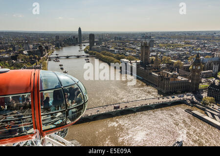 A pod at the top of the London Eye presents spectacular panoramic views of London including the River Thames - Stock Photo