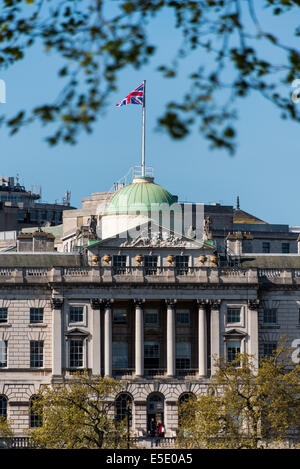 Union Jack flag flying over Somerset House, a large Neoclassical building situated on the south side of the Strand, - Stock Photo