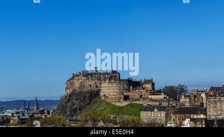 Edinburgh Castle, historic fortress which dominates the skyline of city of Edinburgh, Scotland from its position - Stock Photo