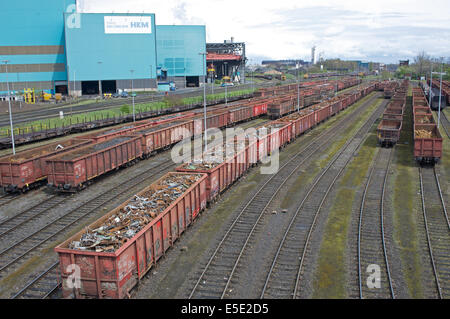 Scrap metal loaded to freight train at steel plant, Duisburg, Germany. - Stock Photo