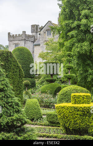 Extraordinary topiary hedges in the gardens of Levens Hall, near Kendal, Cumbria - Stock Photo