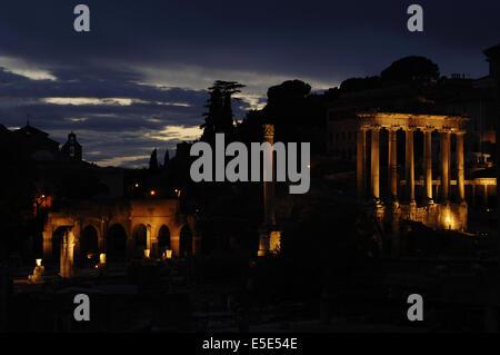 Italy. Rome. Roman Forum. Night view. - Stock Photo