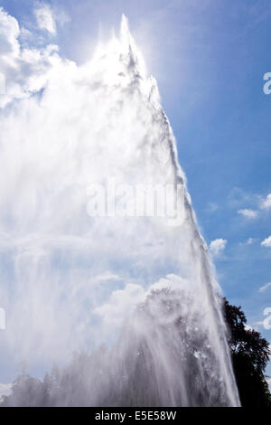 The 300 feet high fountain at Stanway House, Gloucestershire UK – The fountain is the tallest in Britain - Stock Photo