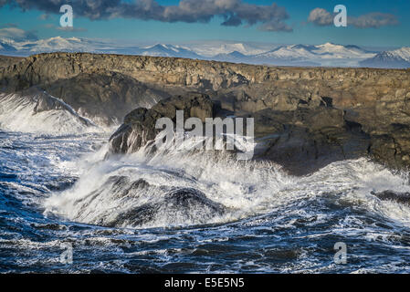 Waves breaking, Stokksnes, by Hofn and Hornafjordur, Iceland - Stock Photo