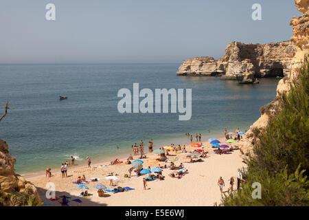Marinha Beach ( Praia da Marinha ), view,  Algarve, Portugal, Europe in Summer - Stock Photo