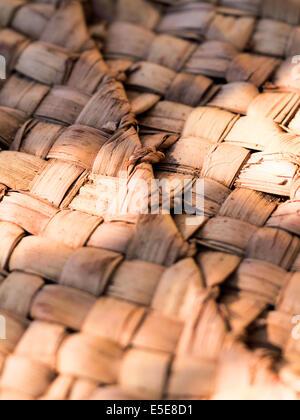 palm tree leafs woven Basket skin . - Stock Photo