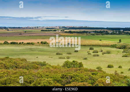 SPYNIE PALACE NEAR ELGIN MORAY VIEW FROM DAVIDS TOWER ACROSS TO LOSSIEMOUTH - Stock Photo