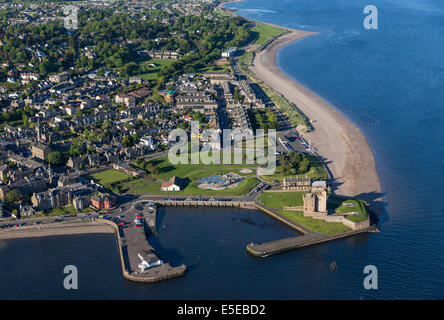 Aerial view over Broughty Castle, Broughty Ferry, on the River Tay in Scotland, United Kingdom - Stock Photo