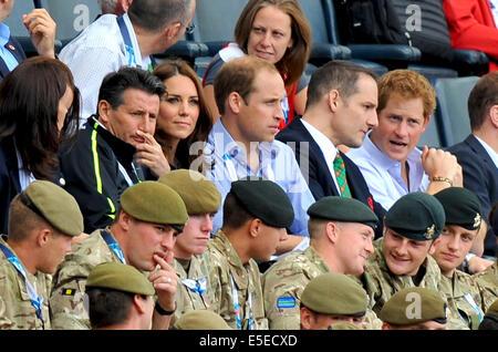 Glasgow, Scotland, UK. 29th July, 2014. Sebastian Coe, Duke and Duchess of Cambridge and Prince Harry sighting at - Stock Photo