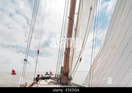 Sailing on the Waddenzee Wadden Sea on a traditional Lemsteraak sailing ship sailboat. Netherlands Unesco World - Stock Photo