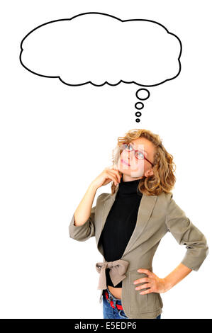 Thoughtful Businesswoman With Blank Thought Bubble - Stock Photo