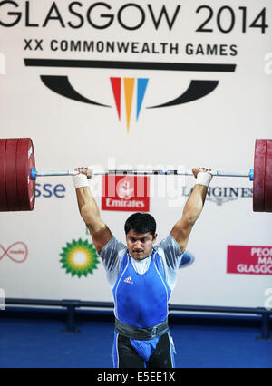 Glasgow, Scotland, UK. 29th July, 2014. Chandrakant Mali of India competes during the men's 94kg final of weightlifting - Stock Photo