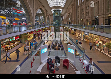 Promenades in Leipzig Central Station, Germany - Stock Photo