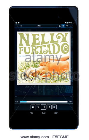 Nelly Furtado album, Whoa Nelly, MP3 album art on PC tablet, England - Stock Photo