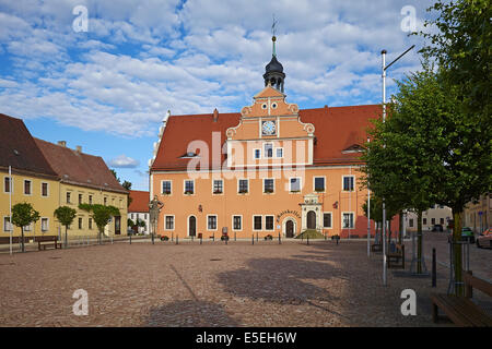 Market with town hall in Belgern, Saxony, Germany - Stock Photo