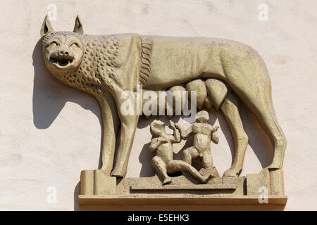 Roman she-wolf suckling Romulus and Remus, relief on a house wall, Bagheria, Province of Palermo, Sicily, Italy - Stock Photo