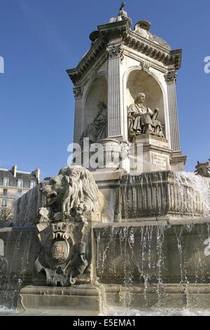 France, paris 6e, saint sulpice, fontaine dite des 4 point cardinaux car aucun des 4 personnages ne fut cardinal, - Stock Photo