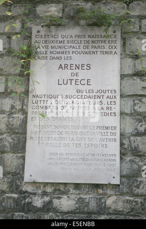 France, paris 5e, arenes de Lutece, vestiges, histoire medievale, - Stock Photo