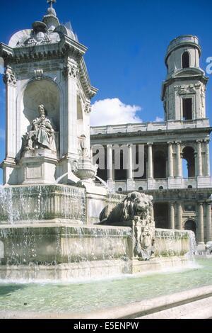 France, paris 6e, saint sulpice, fontaine dite des 4 points cardinaux car aucun des 4 personnages ne fut cardinal, - Stock Photo